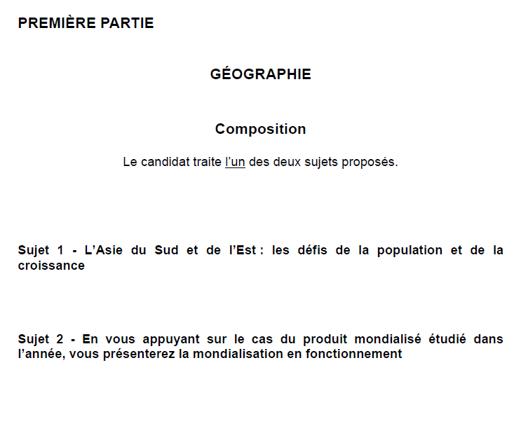 BAC 2015 HG France ES&L Composition de Géographie